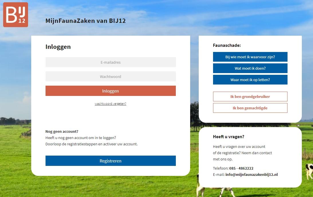 Het inlogscherm van de nieuwe online omgeving MijnFaunazaken
