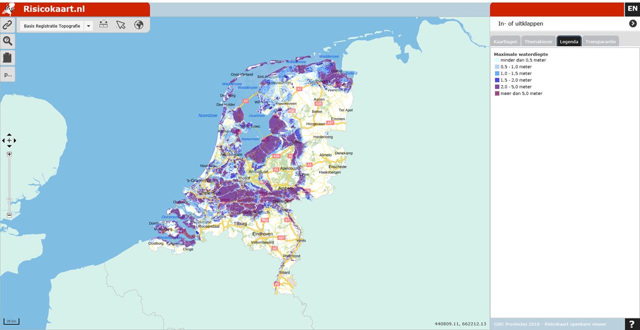 Een voorbeeld van een overstromingskaart