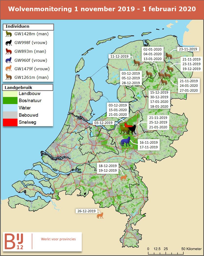 De wolvenmonitoring november 2019 tot en met februari 2002 in kaart gebracht