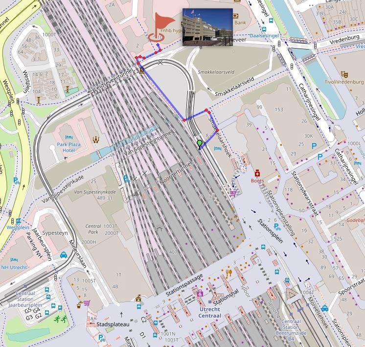 Op deze kaart is de looproute te zien vanaf Utrecht naar het BIJ12-kantoor.