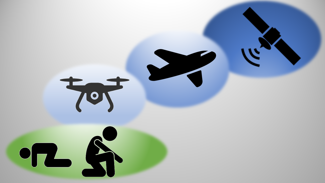 Een animatie afbeelding van remote sensing: veldwerk – drone – vliegtuig – satelliet