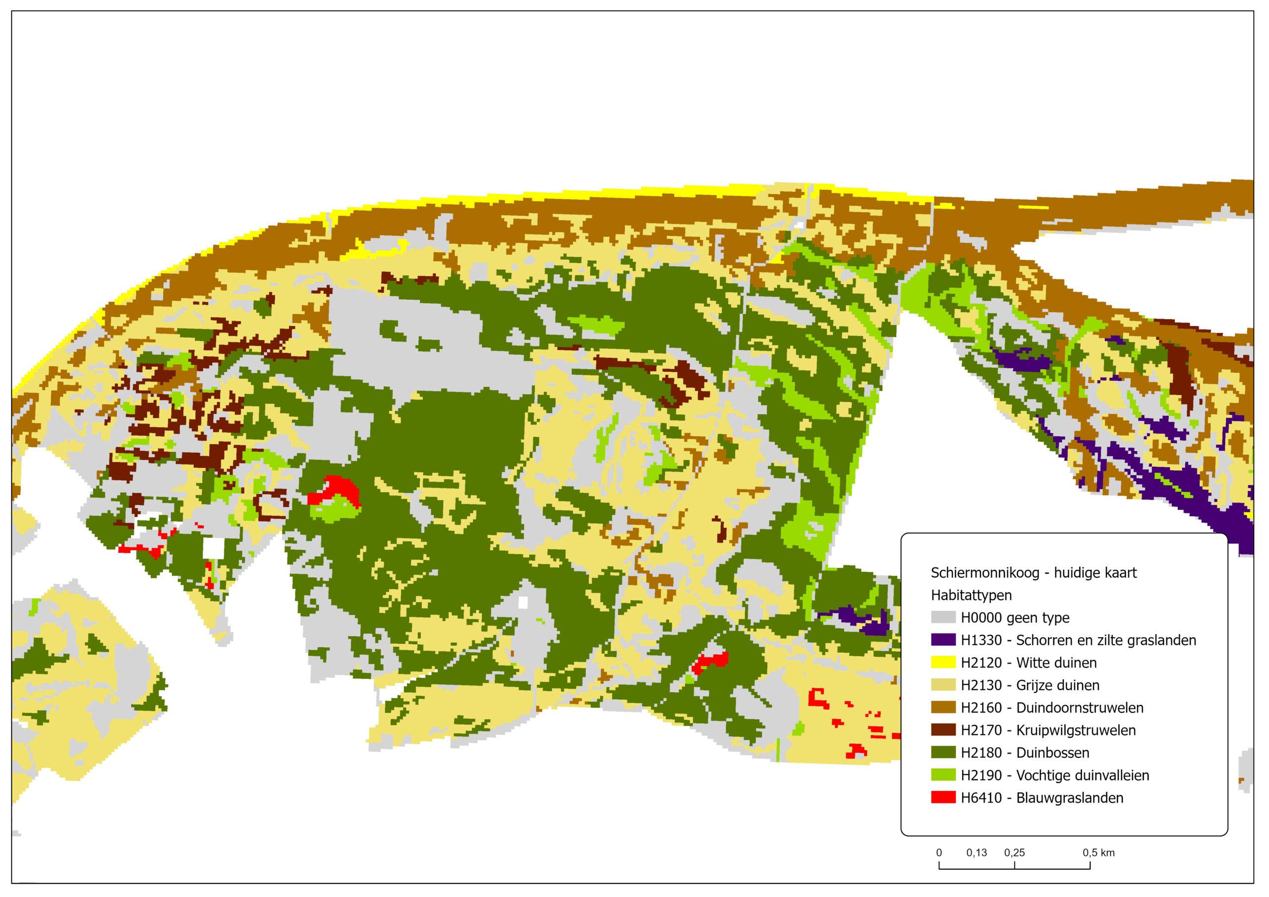 Schiermonnikoog is habitatkaart van 2015/2017