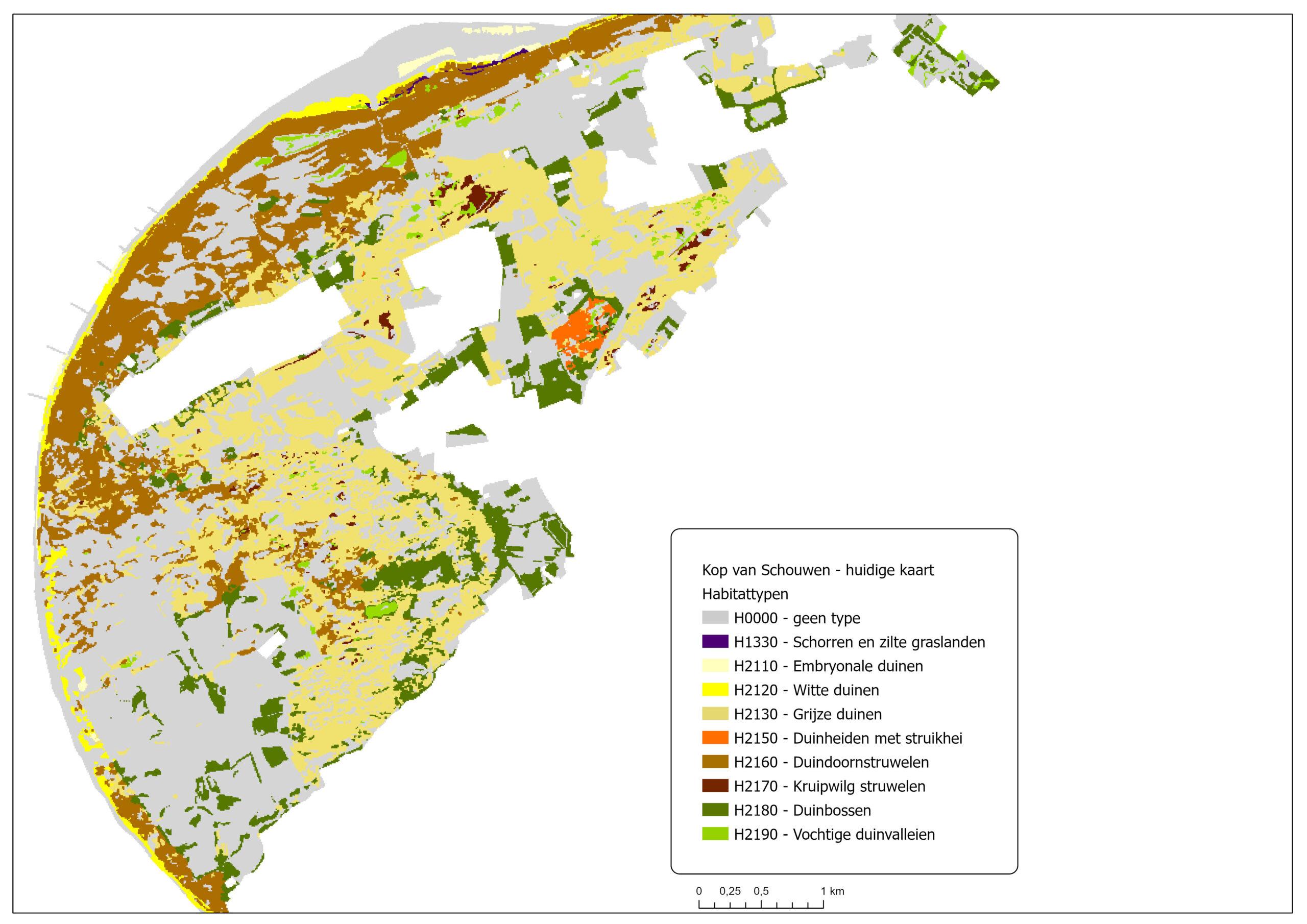 Kop van Schouwen is habitatkaart van 2019